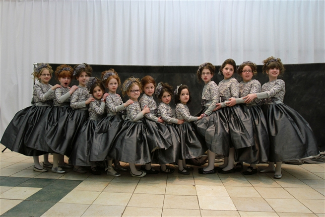 Ultra orthodox Jewish girls during a wedding in Bnei Brak February 2016